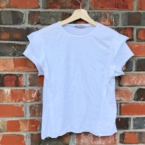 H&M Tops - H&M Trafaluc White Butterfly Sleeve Casual Shirt M